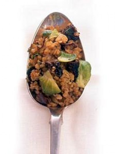 Bulgur Stuffing with Brussels Sprouts and Dried Mushrooms